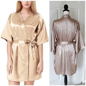Silky Maid of Honor robe champagne color M